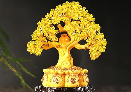 黄水晶发财树的风水作用
